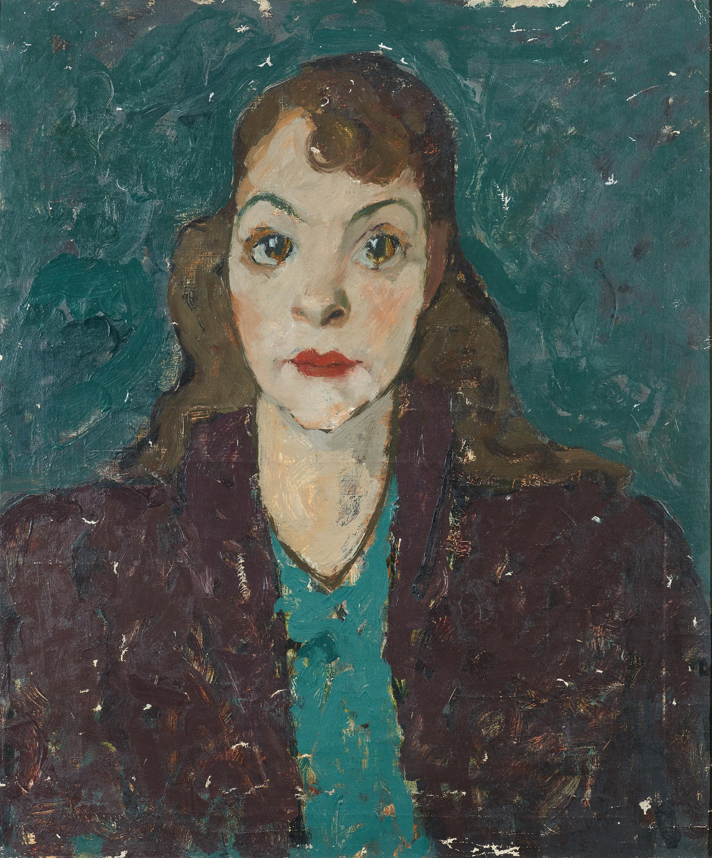 PORTRAIT DE FEMME AU ROUGE A LEVRES   CIRCA 1940 Oil on canvas. Size: 55 x 46 cm