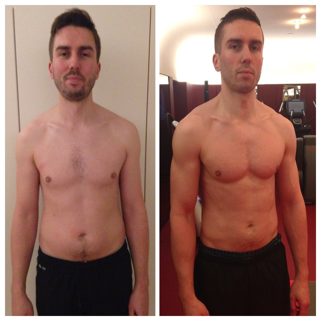"Jamie 34, Art Director       3 a week, 10 weeks     Bodyfat 19.1% > 8.9%    Lean mass gain 70.6kg > 74.8kg      For Jamie getting in shape was important to him as a parent. ""With a seven-month-old boy at home, this was my last chance to get fit before becoming a 'fat dad'. 'I learnt that if you're a new dad, or even an old one, it's not too late. But you will need help!"" In 3 sessions per week with James plus homework and food supplied by Fresh Fitness Foods Jamie lost 10.2% bodyfat in 10 weeks and became a Fit Dad."