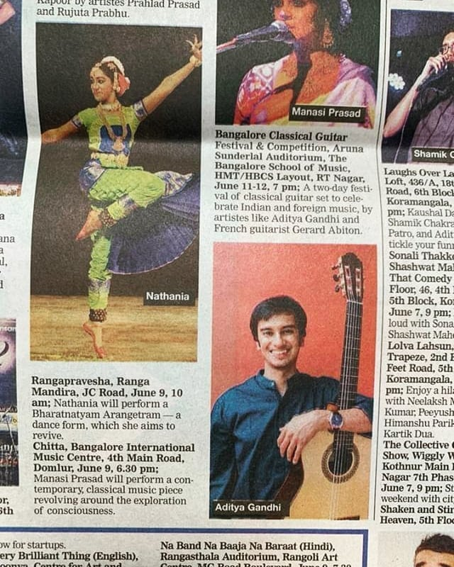 BANGALORE...In a paper near you . . . . .  Thanks for sending this @dhwanibansal  #bangaloreconcert #bangalore #classicalguitarist #gig #bcgf2019 #indianmusician #indianguitarist #guitaristsofinstagram