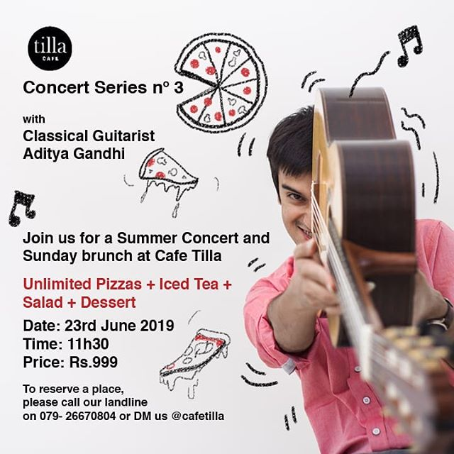 #Ahmedabad #gigalert Unlimited Pizzas / Live Music / Limited seats!  Call 079 26670804 or DM @cafetilla to book urs.