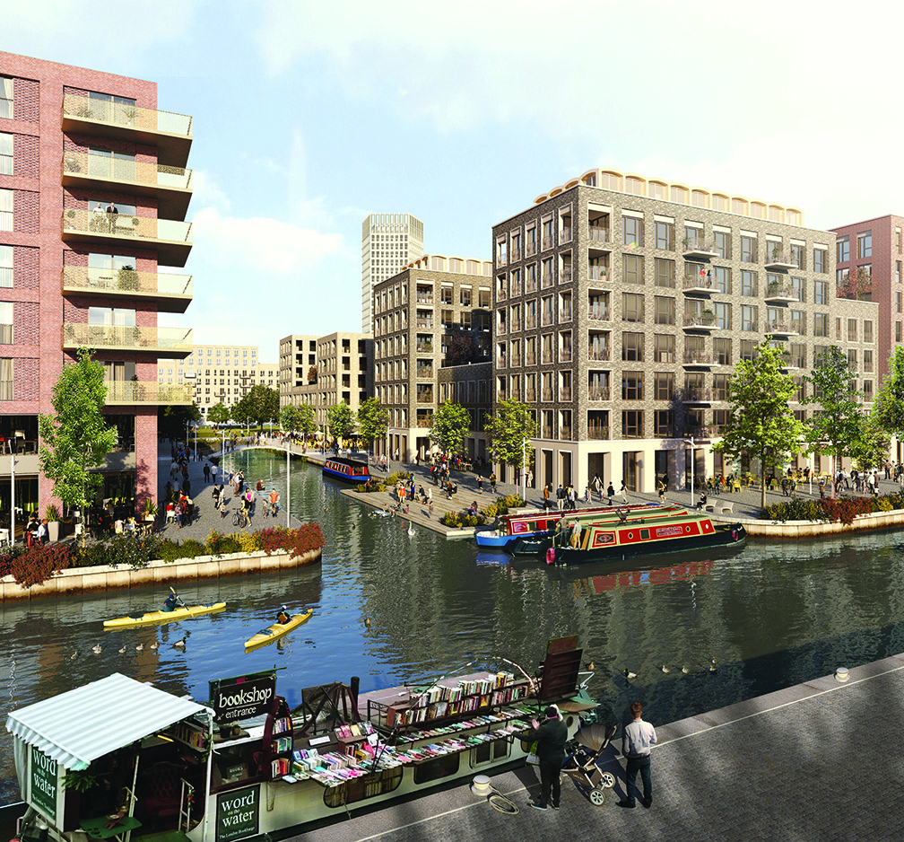 CGI of the proposed canal-side living at Meridian Water