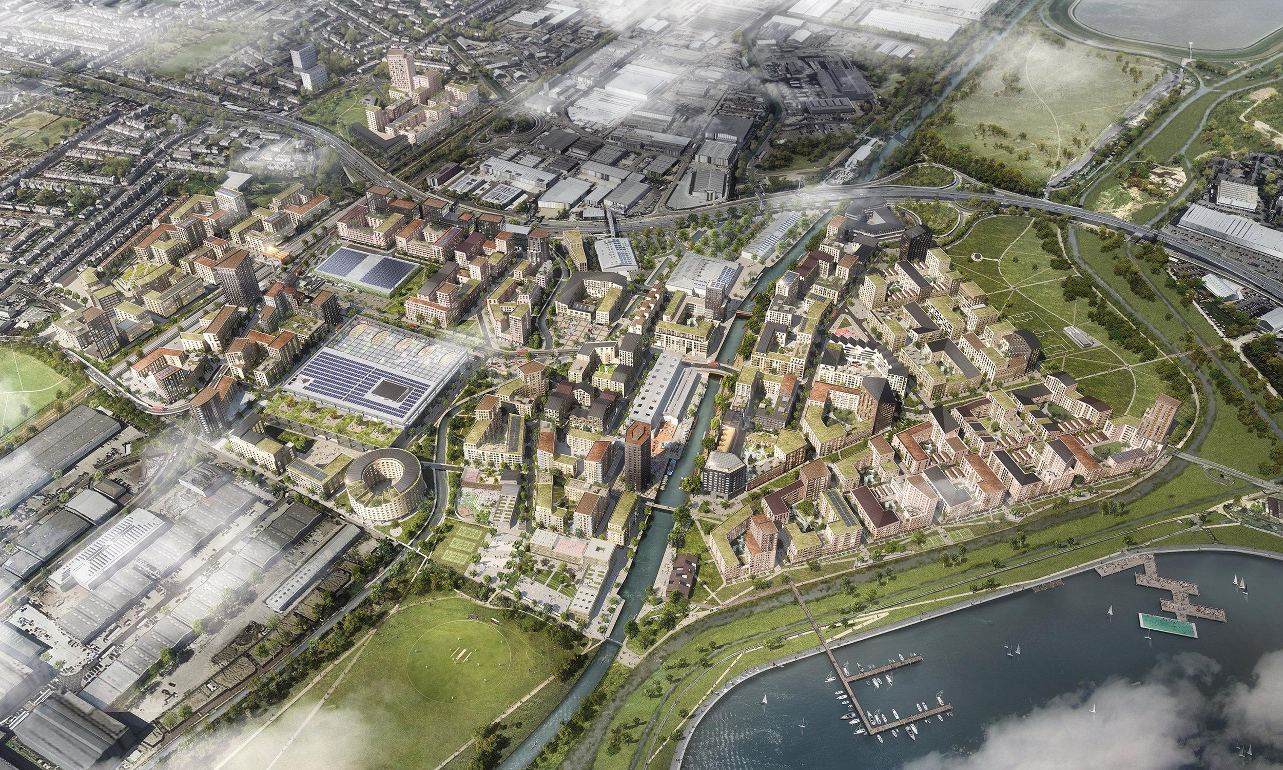 CGI of the Meridian Water masterplan, looking north