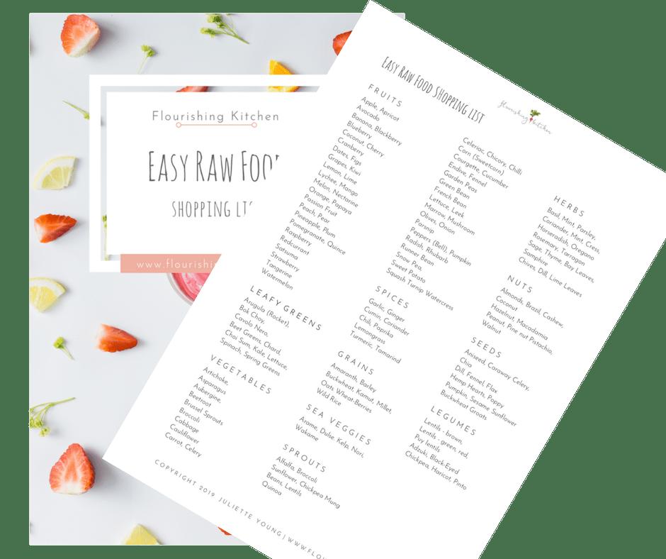 easy raw food shopping list #RawFoodShoppingList #flourishingkitchen #RawFoodDiet
