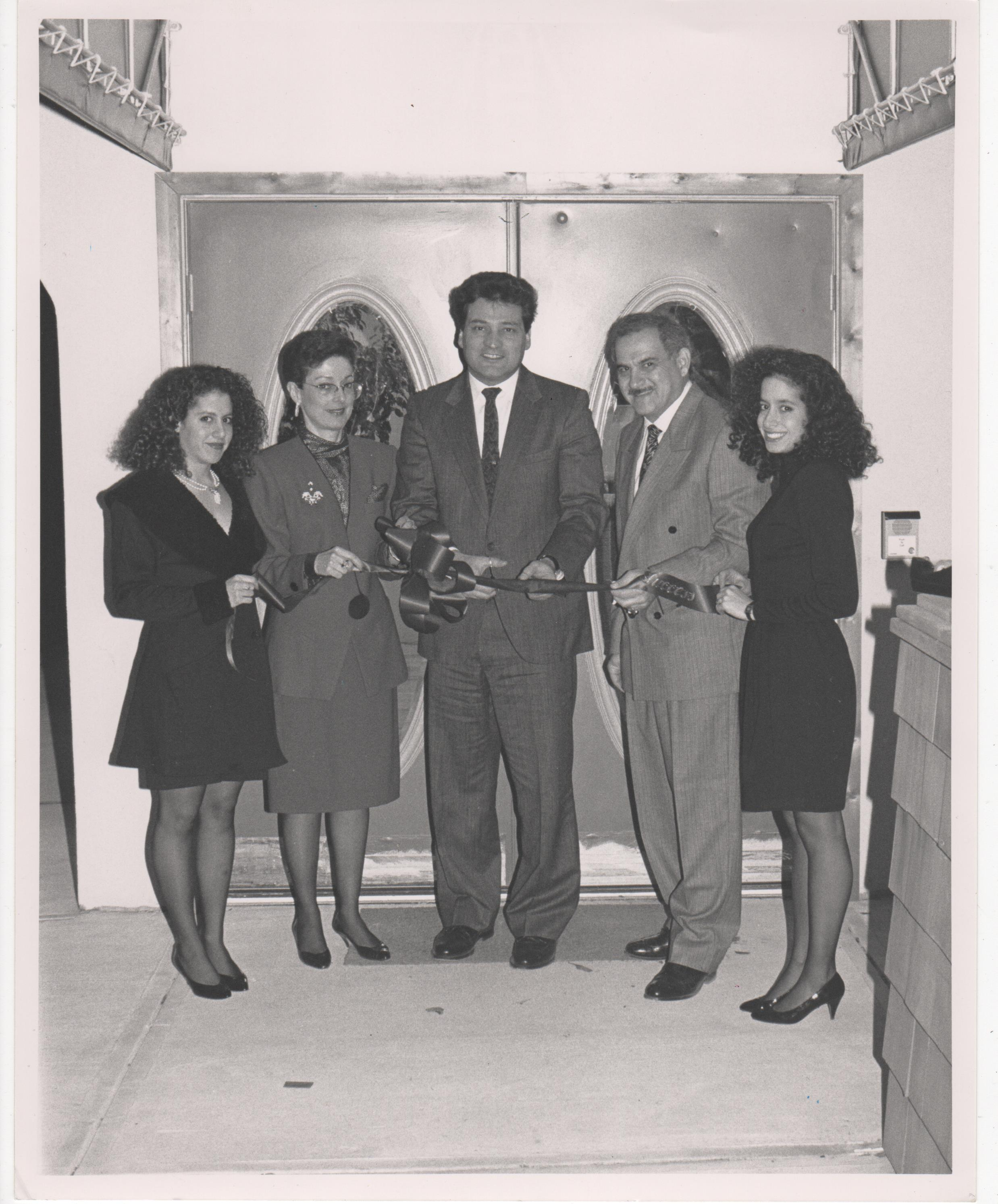The Schoenfeld Family (Ketti, Elaine, Billy, Gwen, l-r)with Joe Vicari ( New Jersey  Board of Chosen Freeholders , center) at the opening of Gemsmith. Circa 1989
