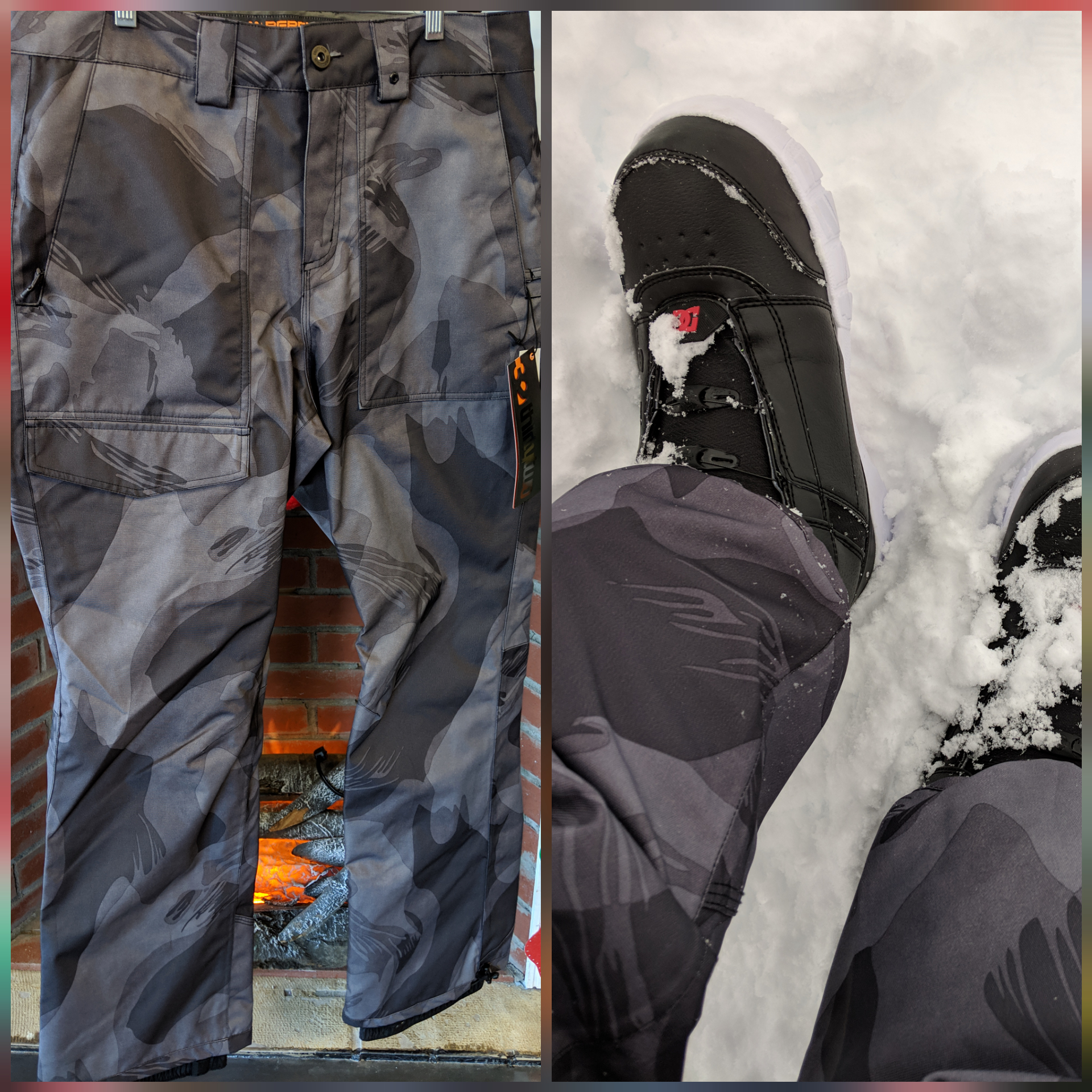 thirtytwo - Pants that sinch so you don't get them caught in your bindings or drag them across the lot.