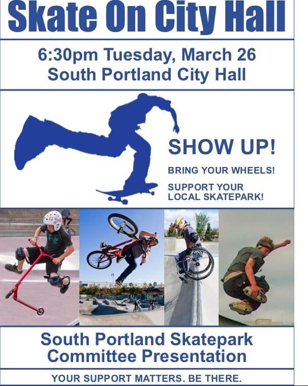 Show up on Tues to support the building of a skatepark in South Portland. We need to show how many people will benefit from a park.