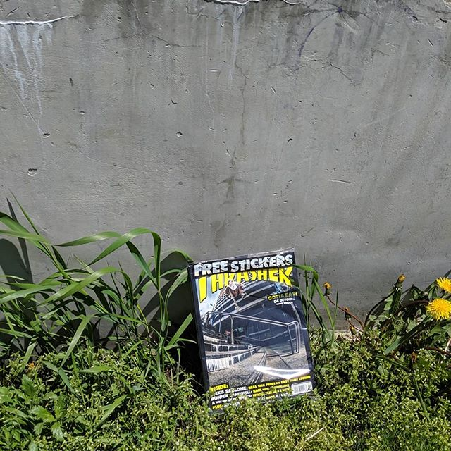 My birthday @thrashermag give-away, 2 hidden: 1 behind the deckless, the other under the overpass. Enjoy! #stickeredition #imnotoldyoureold