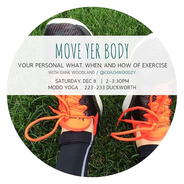 You're invited: this judgment free, play-encouraged session on exercise is what you've needed! 🌟 . @coachwoodzy is talkin about the different ways to practice fitness, how to support yourself with real nutrition advice, and how to work some body movement into your schedule! . This session is for you if you're ready to hack motivation for exercise - or, if you can believe it, exercise you'll enjoy 🤯 . Link in bio for tickets! Saturday, Dec 8 @modoyogastjohns . #maxfitness #lululemonstjohns #thatsweatlifeyyt #personaltrainer #newyearnewme #resolutionrush