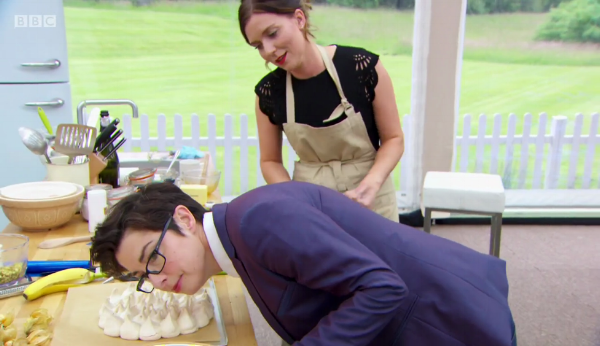 Sue listens to make sure Candice's meringue isn't cracking up.