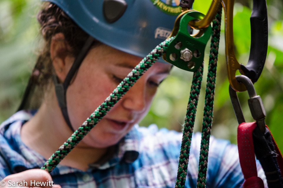 Carrie Woods prepping her climb into the rainforest canopy at La Selva, Costa Rica.