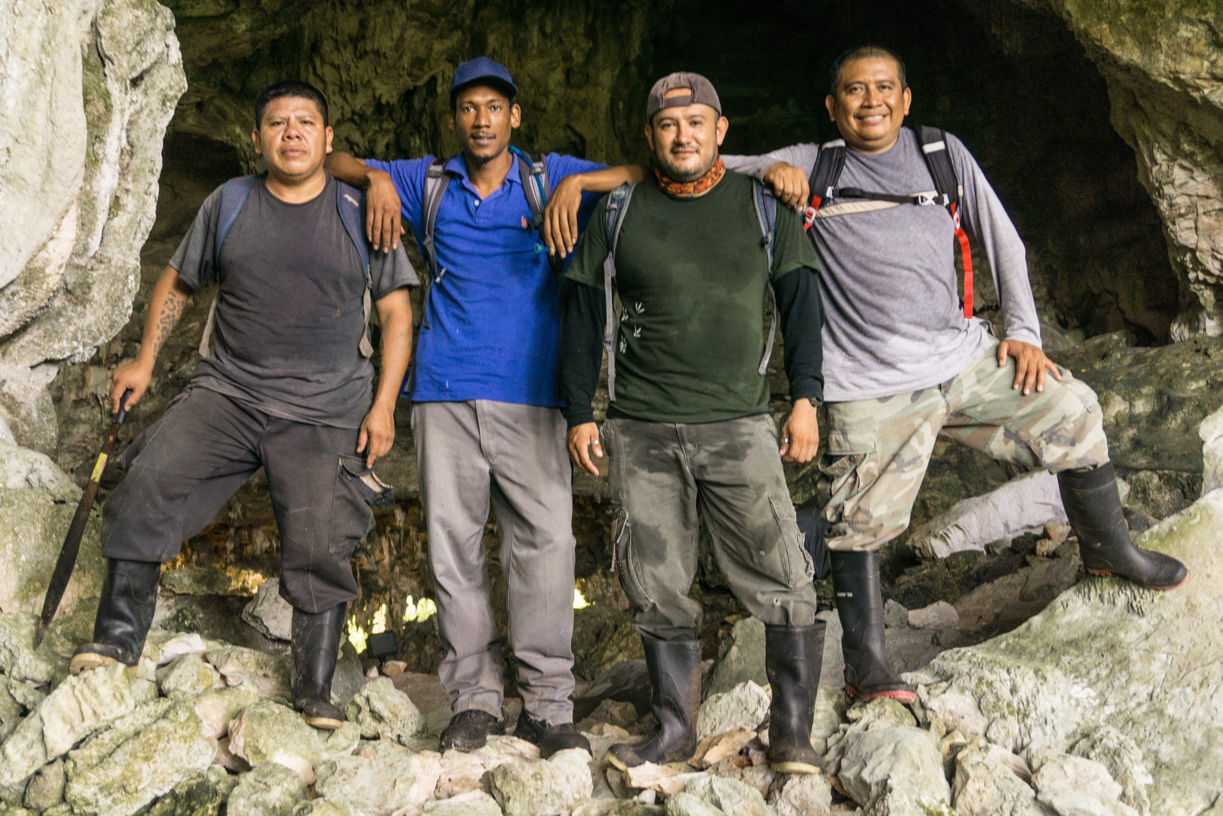 The team at the entrance to Breeze Tunnel. Thanks to Wilber Martinez (far right), Reynold Cal (far left), and Stevan Reneau (2nd from left) who all work at Runaway Creek, and Jonathan Flores (2nd from right), veterinarian who was there to help with the tapir project. Kayla Hartwell is sadly missing from this excellent team shot.