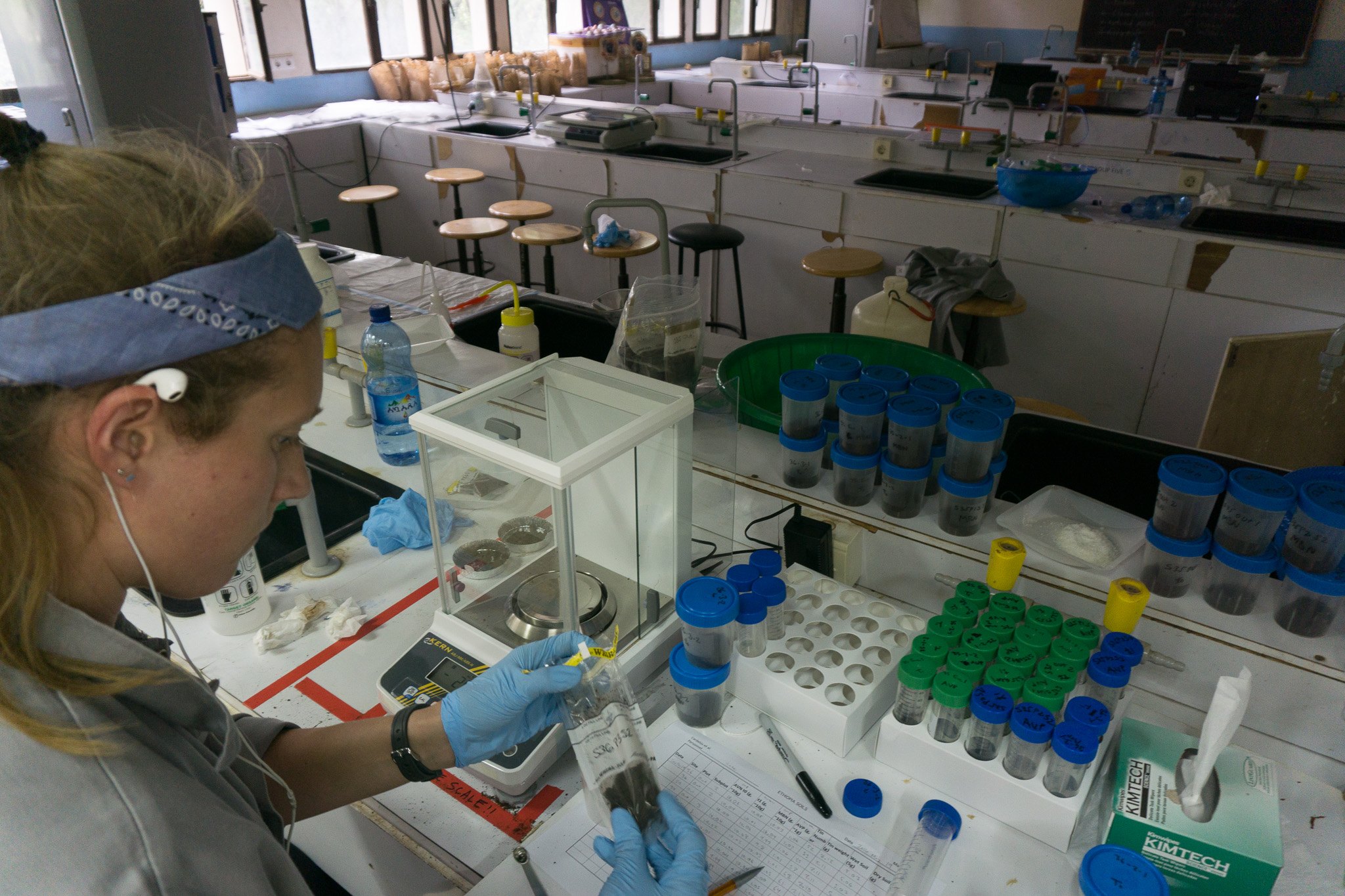 Colgate University student, Kelsey Jensen, working in the lab in Bahir Dar University when it was eventually up and running.