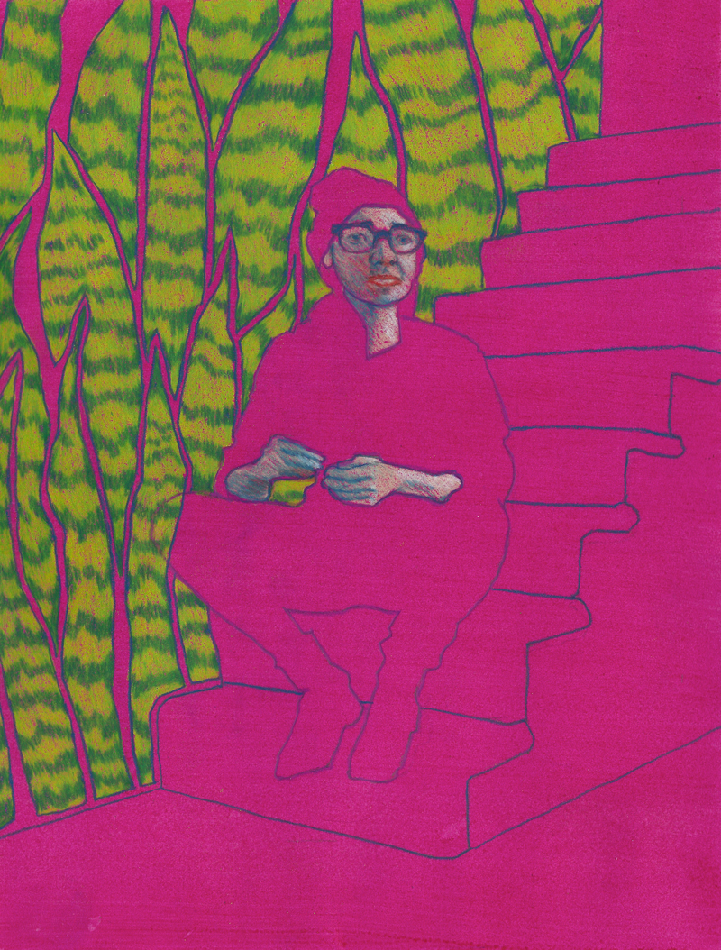 "Snakes in the Basement Colored pencil and acrylic on paper 12"" x 9"""