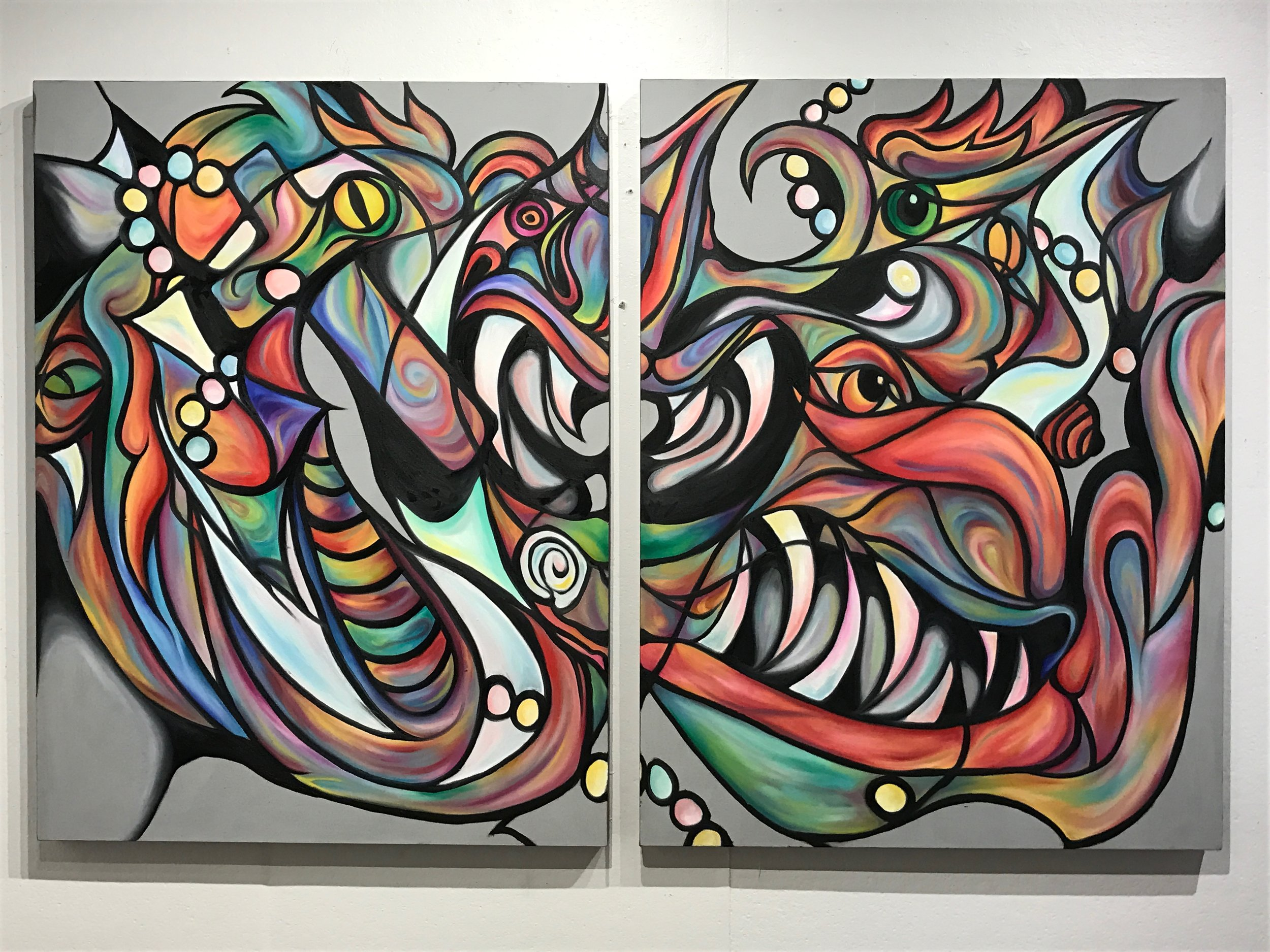 Dancing Devils , 2017  Oil on canvas, 48 x 36 in. (each canvas)