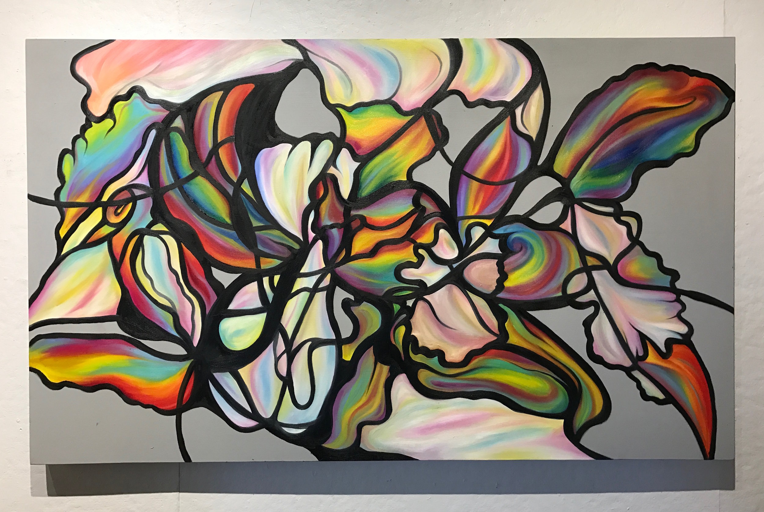 Orquidea, Turpial y Araguaney , 2017  Oil on Canvas  36 x 60 in.
