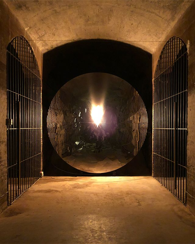 "Fire and water. Jeppe Hein's installation ""The Only Way In Is Out,"" at the contemporary art venue Cisternerne, an underground, former water cistern. 👩‍🎨 💦 @cisternerne"