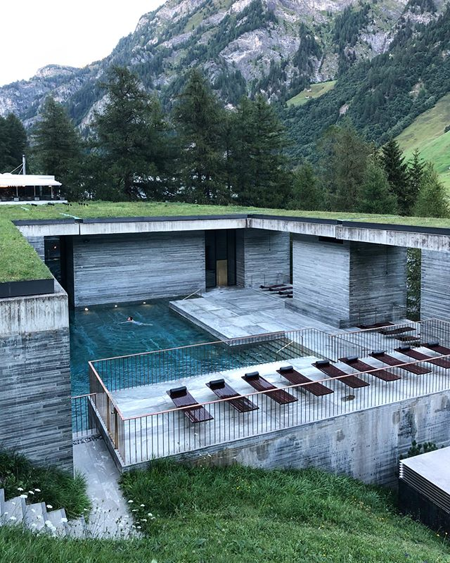 Peter Zumthor's Therme Vals: It's hard to believe this building is 20 years old. In 1995 I invited Zumthor to lecture at Rice University — he showed up with his teenage son, both dressed in cowboy dusters — and the photos of the model of Therme Vals was the star of the talk. To see it in person, I can say it's one if the few truly religious architectural experiences.