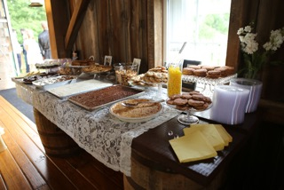 Kokomo, Indiana Rustic Barn Reception Food Table and Decor