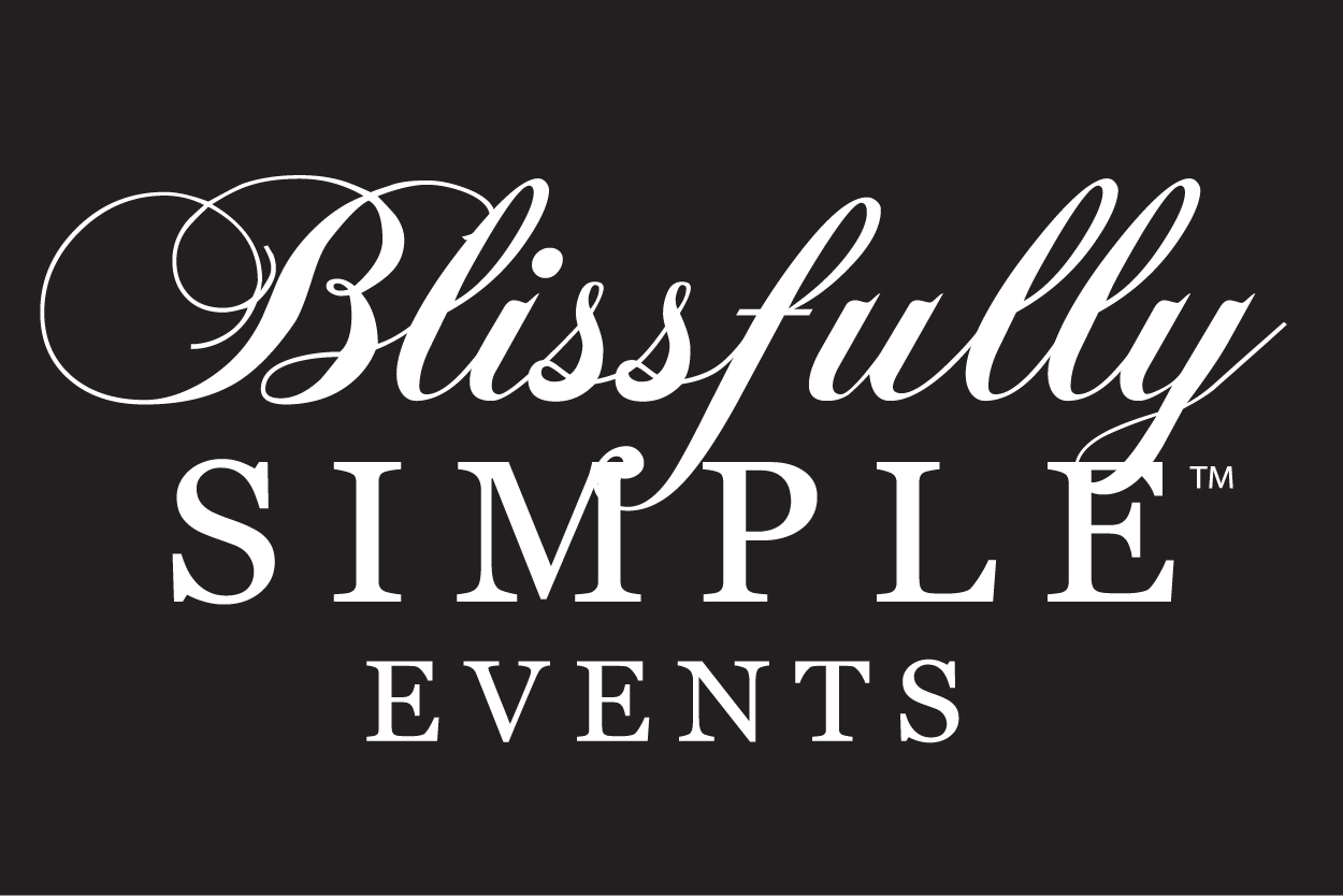 Blissfully Simple Events Stacked logo White on Black