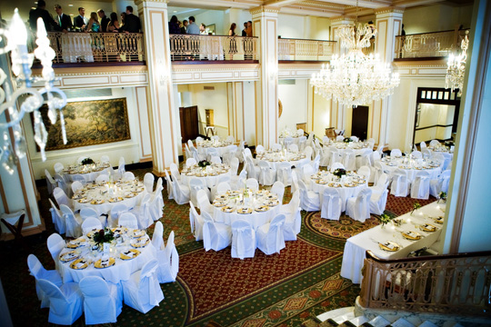 Wedding ballroom guest tables