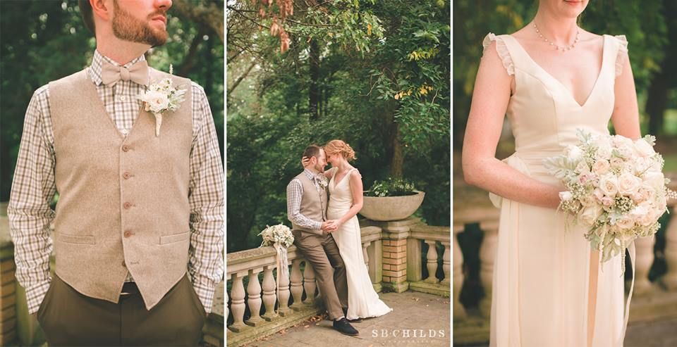 Bride and Groom wedding pictures in vintage style