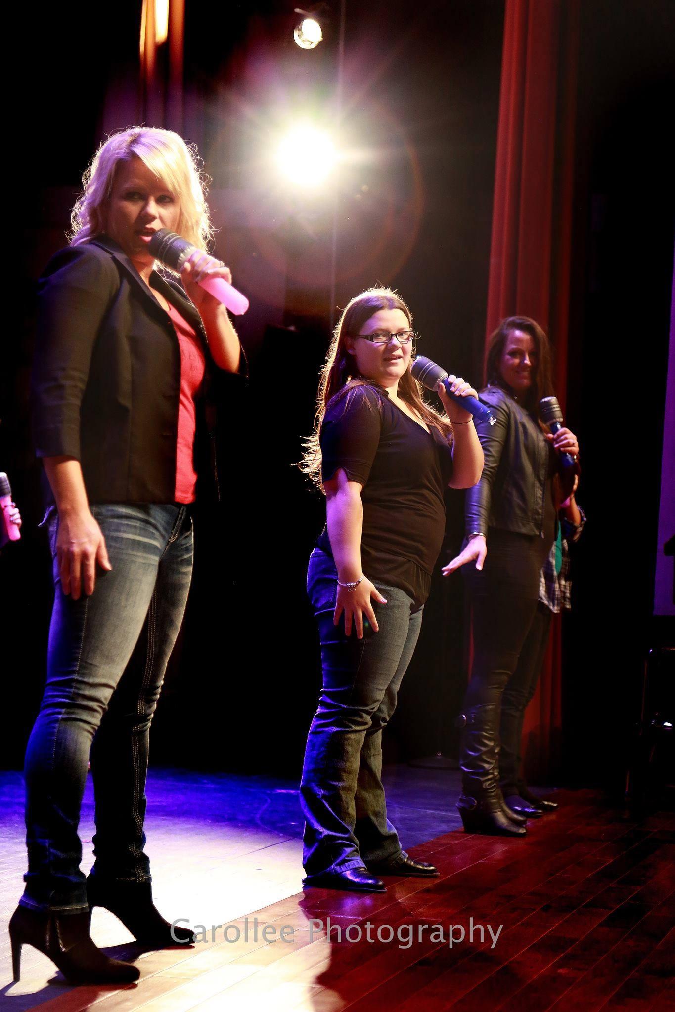 Jenny Cole, Julia Tharp & Danielle MacClaren perform pitch perfect at Bridges Lip Sync Battle Fundraiser