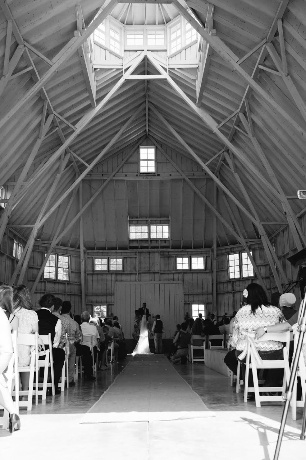 Wedding ceremony in a large barn