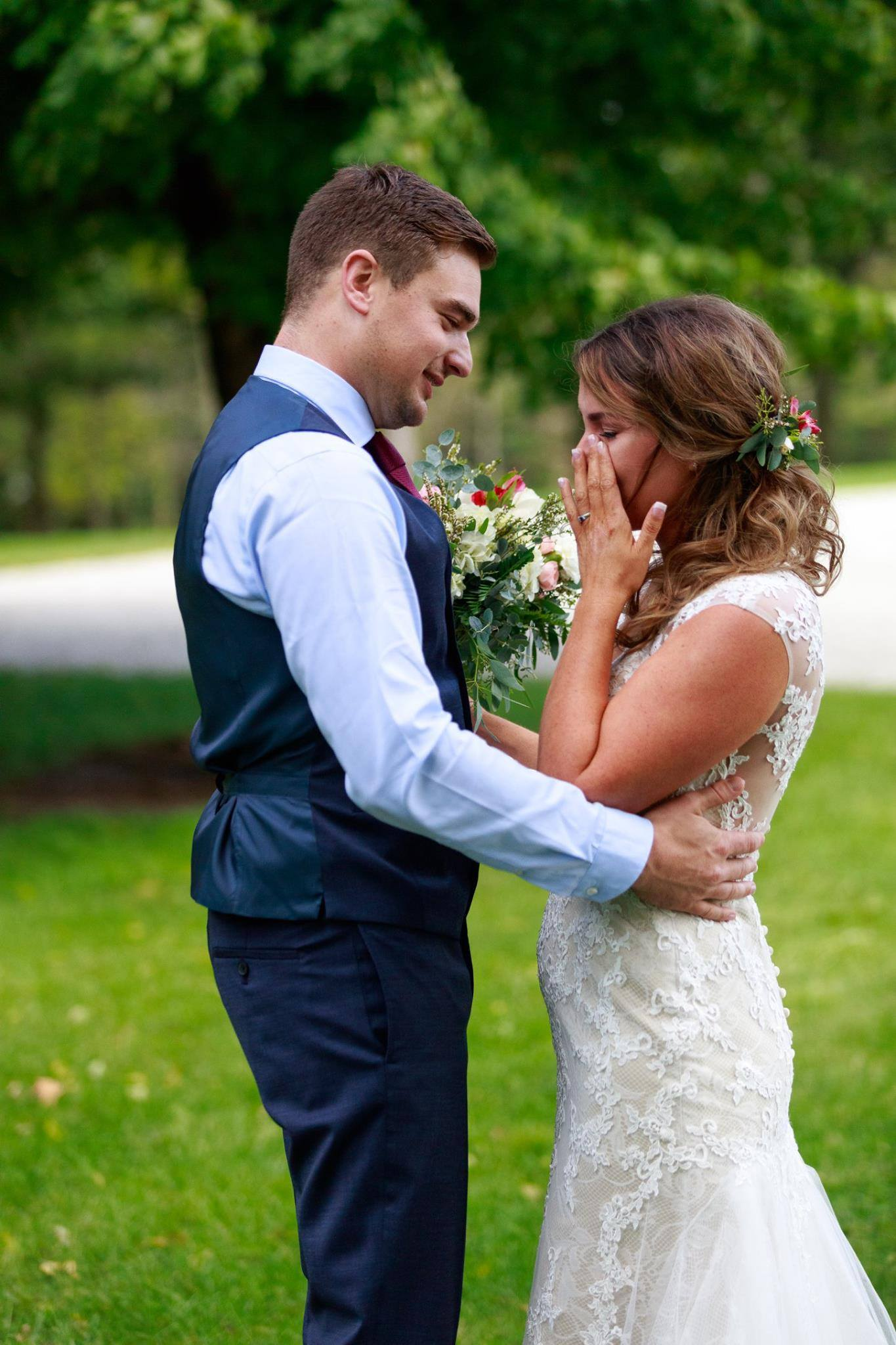 Bride and Groom's first look on their wedding day