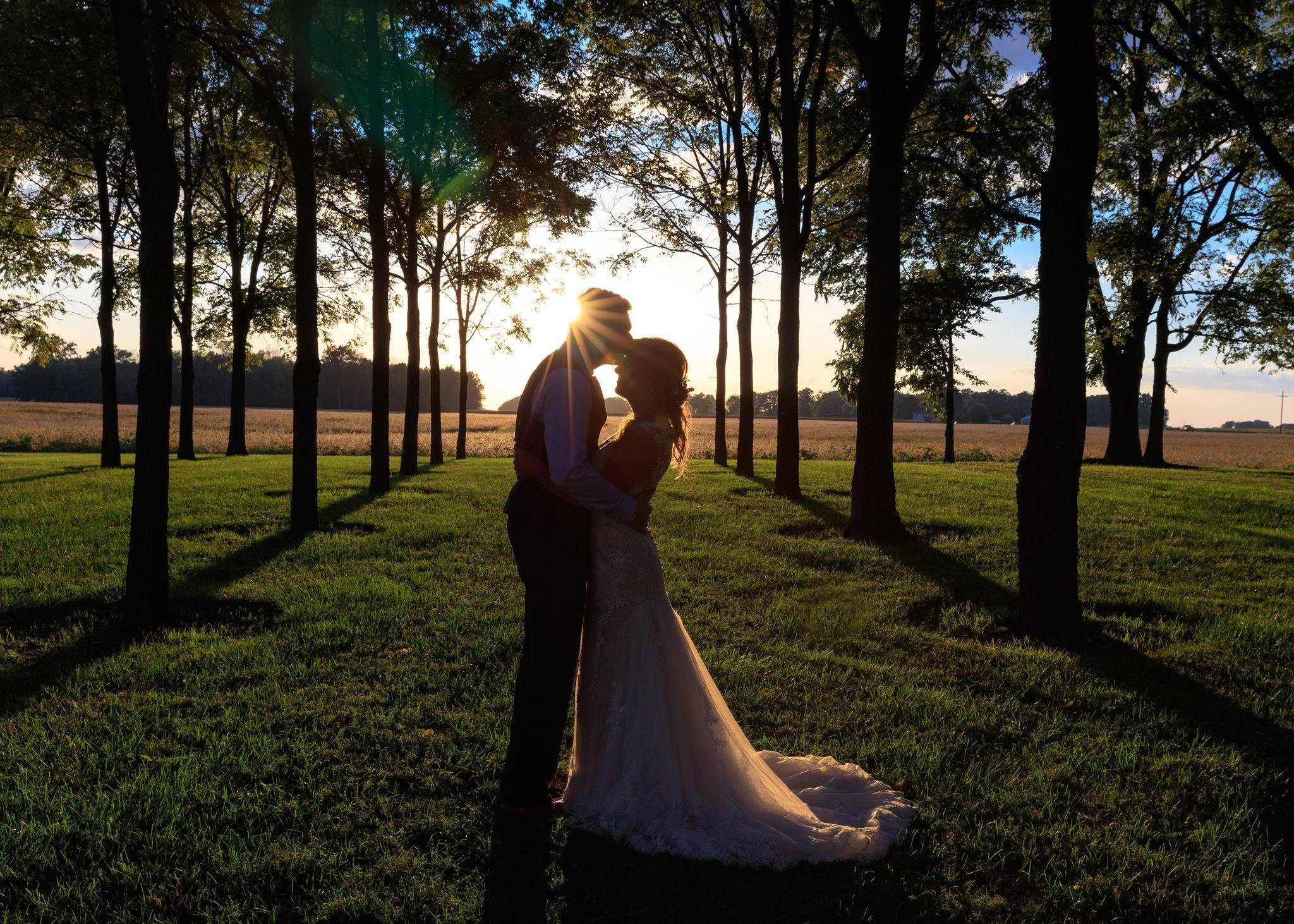 Bride and Groom Sunset Picture on their wedding day