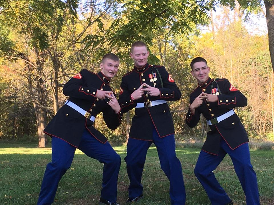 Marine Groom and his Marine Groomsman pose for their wedding pictures