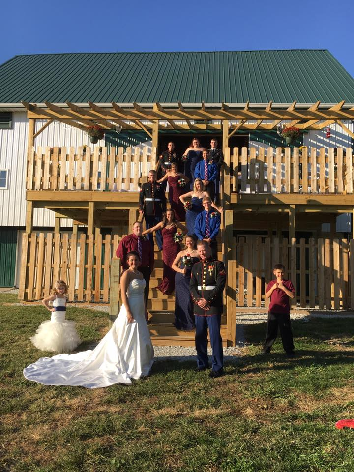 A Bridal Party posting on a staircase on the wedding day