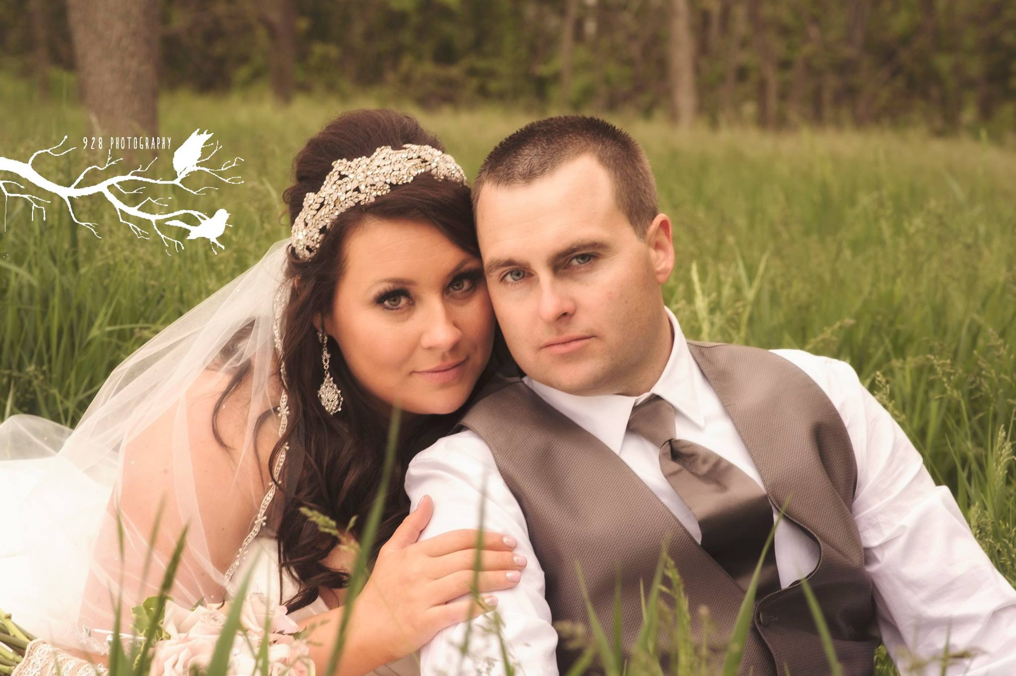 A Bride and Groom posing on their wedding day