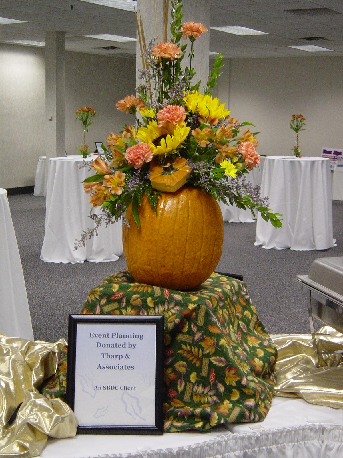 Pumpkin fall floral centerpiece