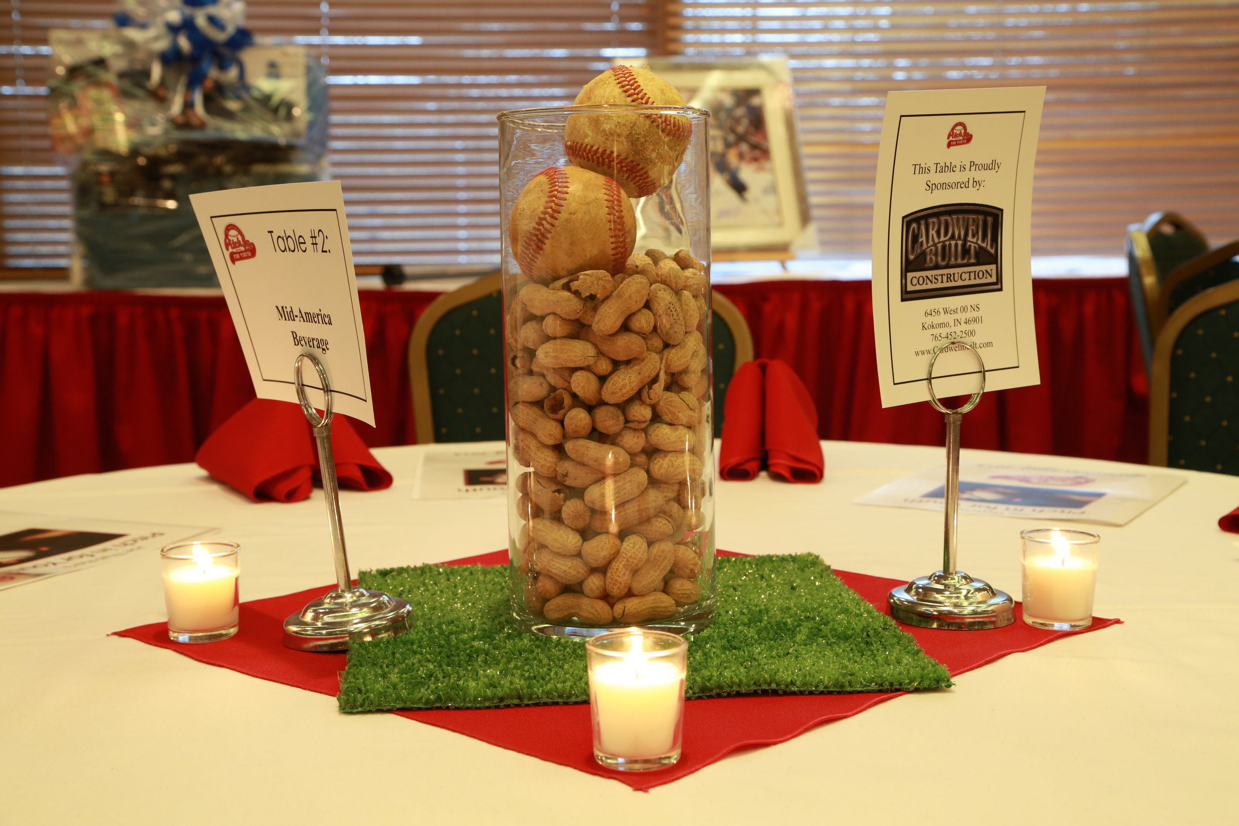 Baseball Centerpiece with peanuts and grass square