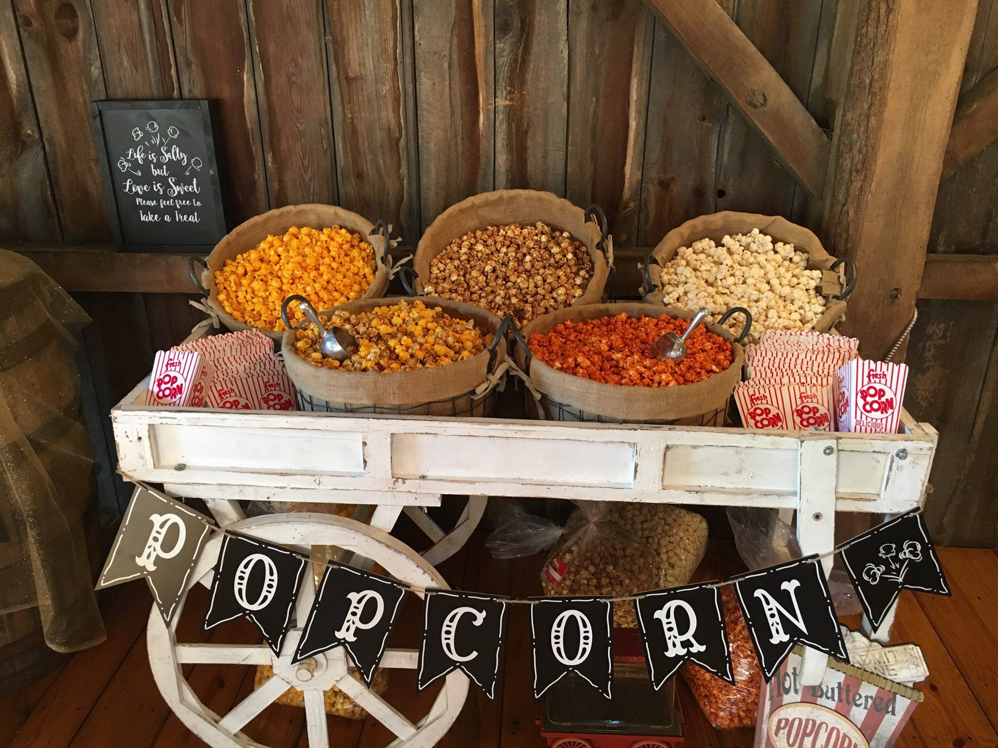 Popcorn trolly at a wedding reception