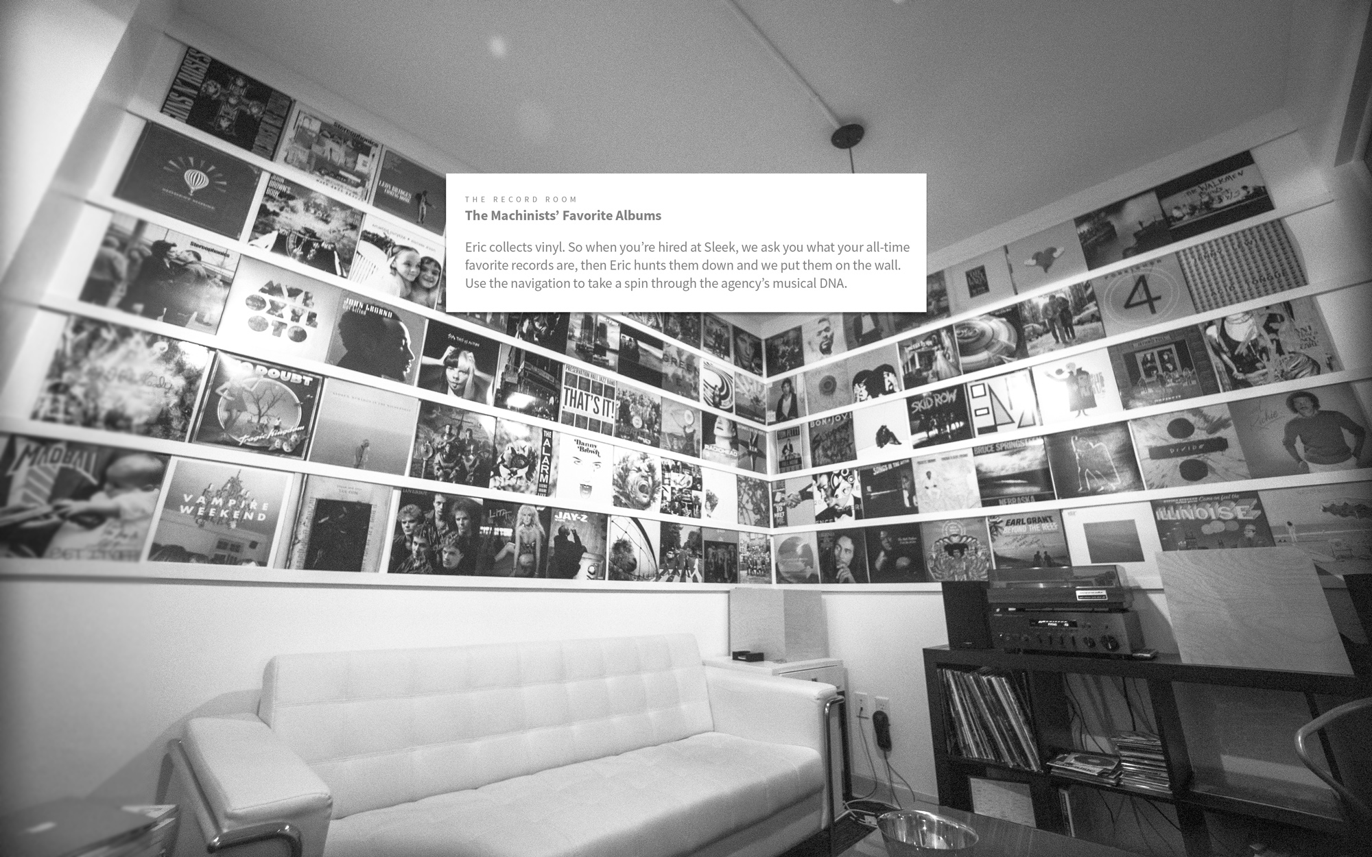 The Record Room at Sleek Machine - A Virtual Snapshot of Every Employees Favorite Music