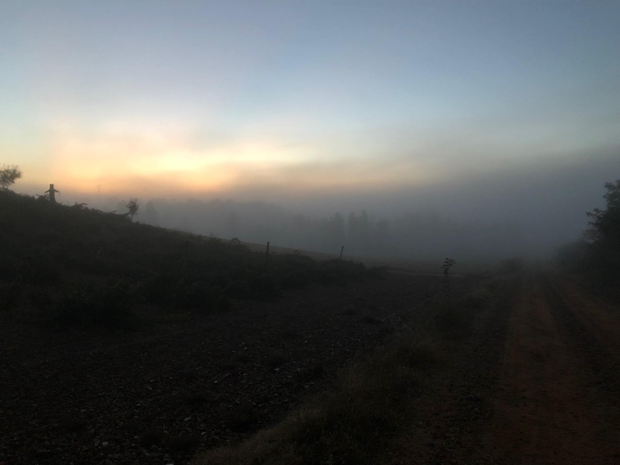 The village shrouded in fog