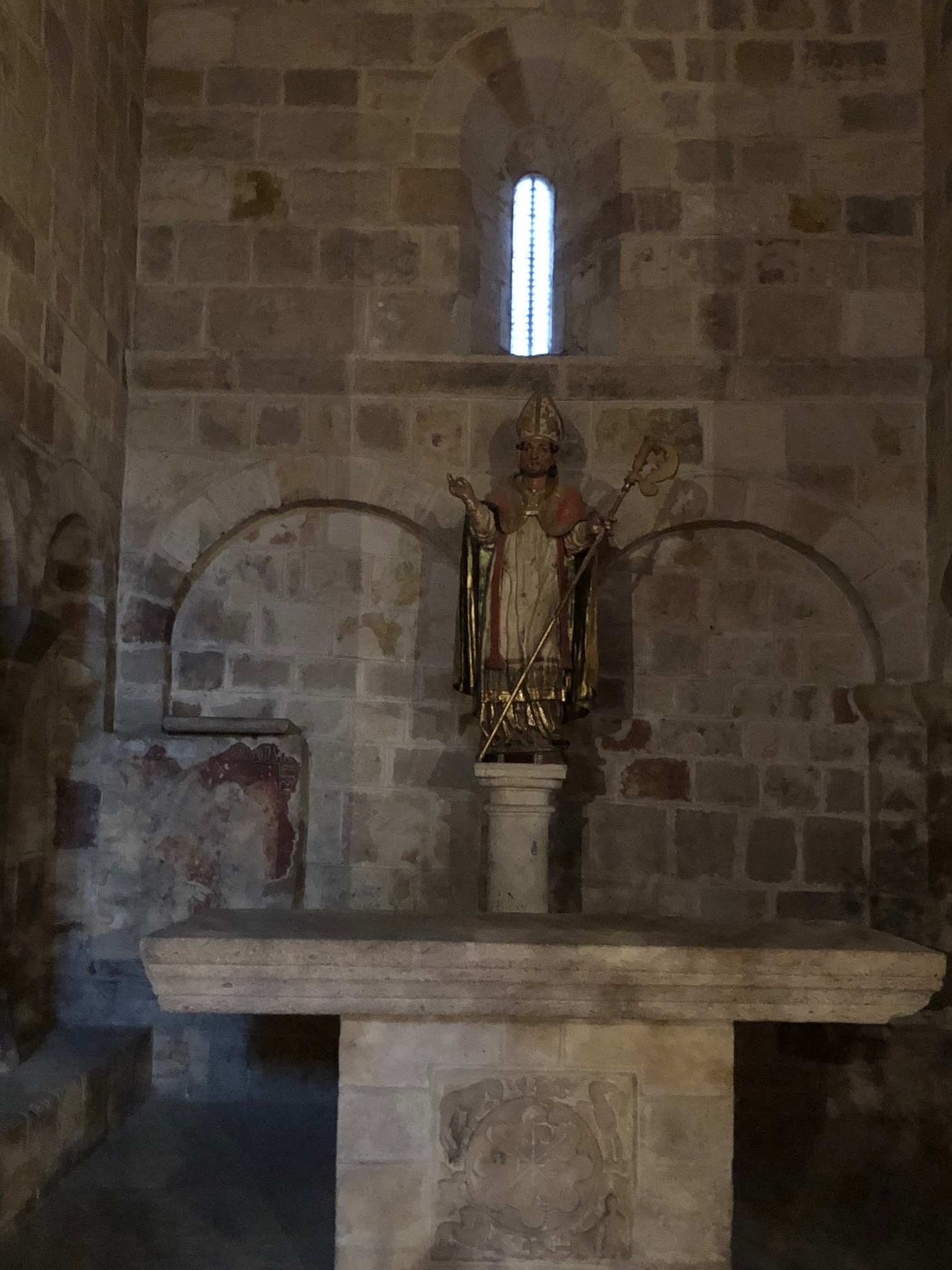 Interior of the Church emptied except for the statue of S Cipriano