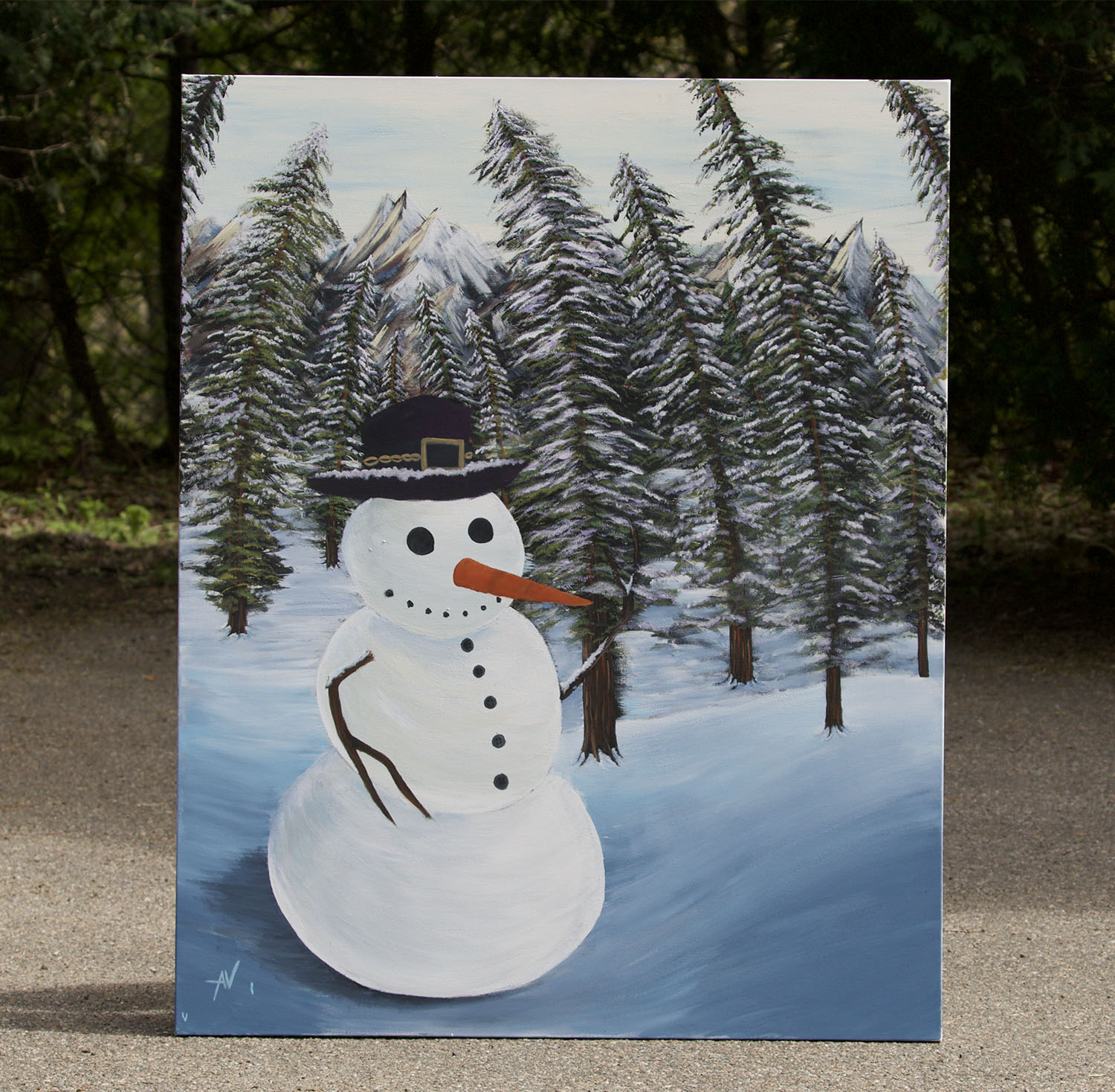 """The Acrylic Painting for, """"The Snowman"""""""