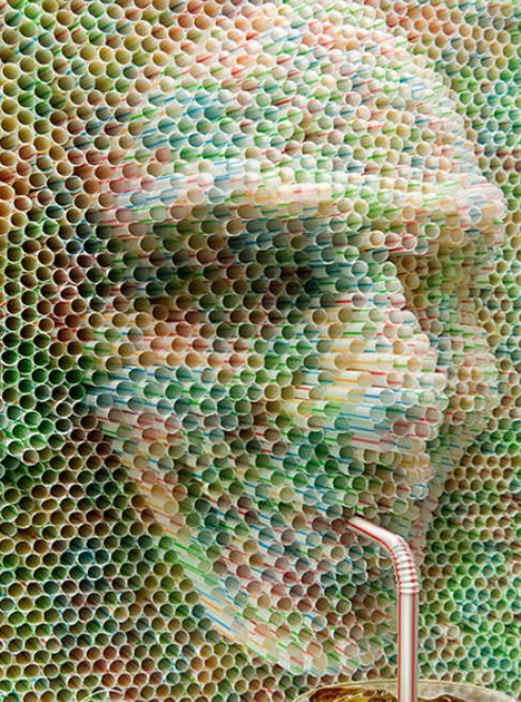 """created by  Publicis Argentina for Nestea. The campaign's slogan was """"Eres lo que tomas,"""" or """"You are what you drink.""""  http://webecoist.momtastic.com/2009/10/28/suck-it-8-brilliant-examples-of-plastic-drinking-straw-art/"""