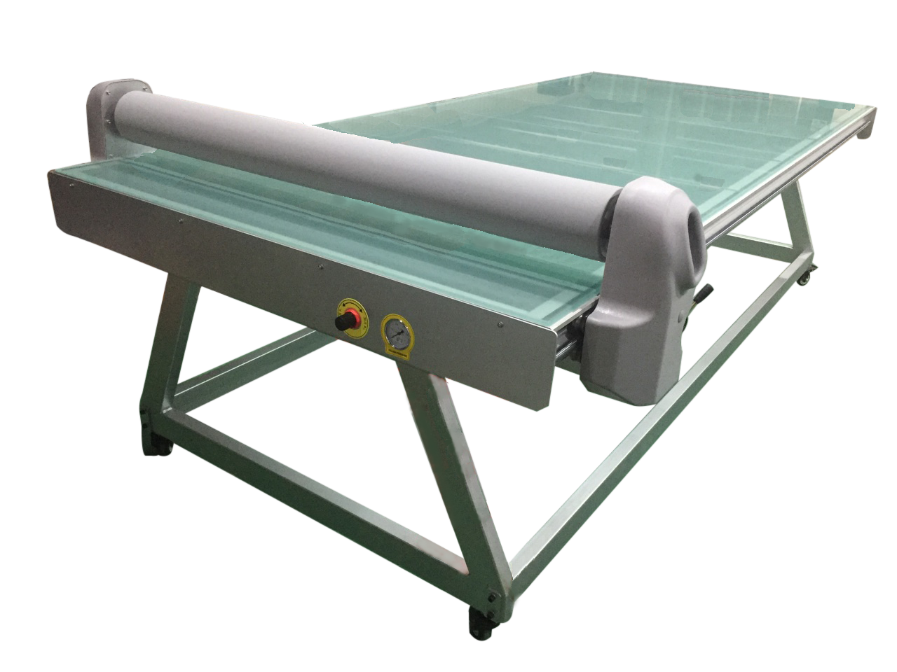 Flatbed application table for print finishing