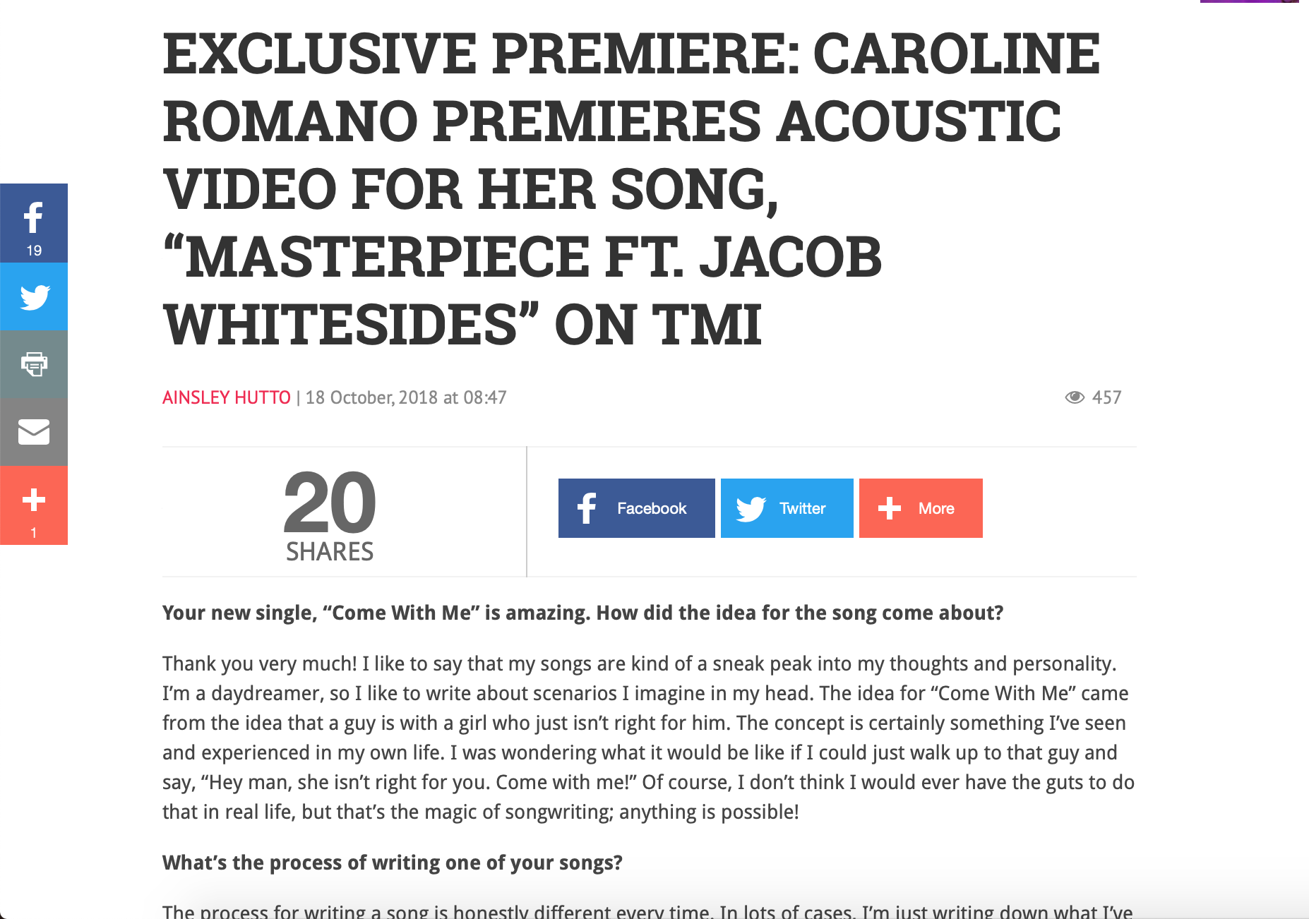 """Teen Music Insider - """"Masterpiece"""" Acoustic Video Premiere"""