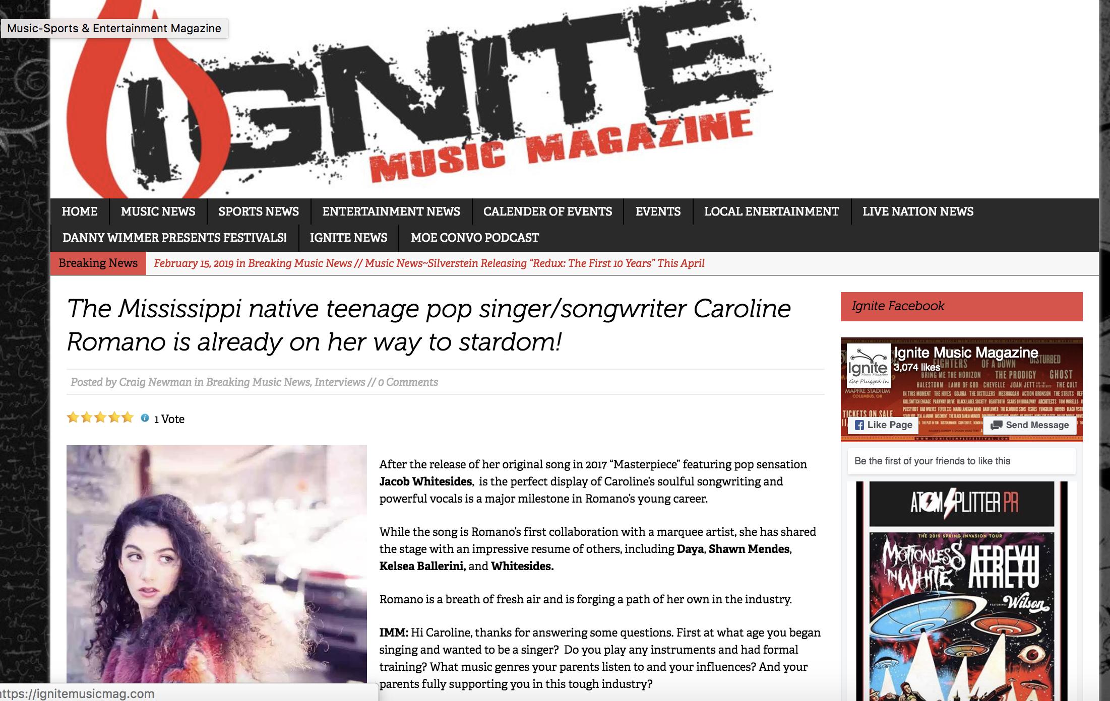 Ignite Music Magazine - Interview Feature