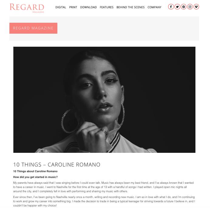"Regard Magazine - ""10 Things"" Feature"