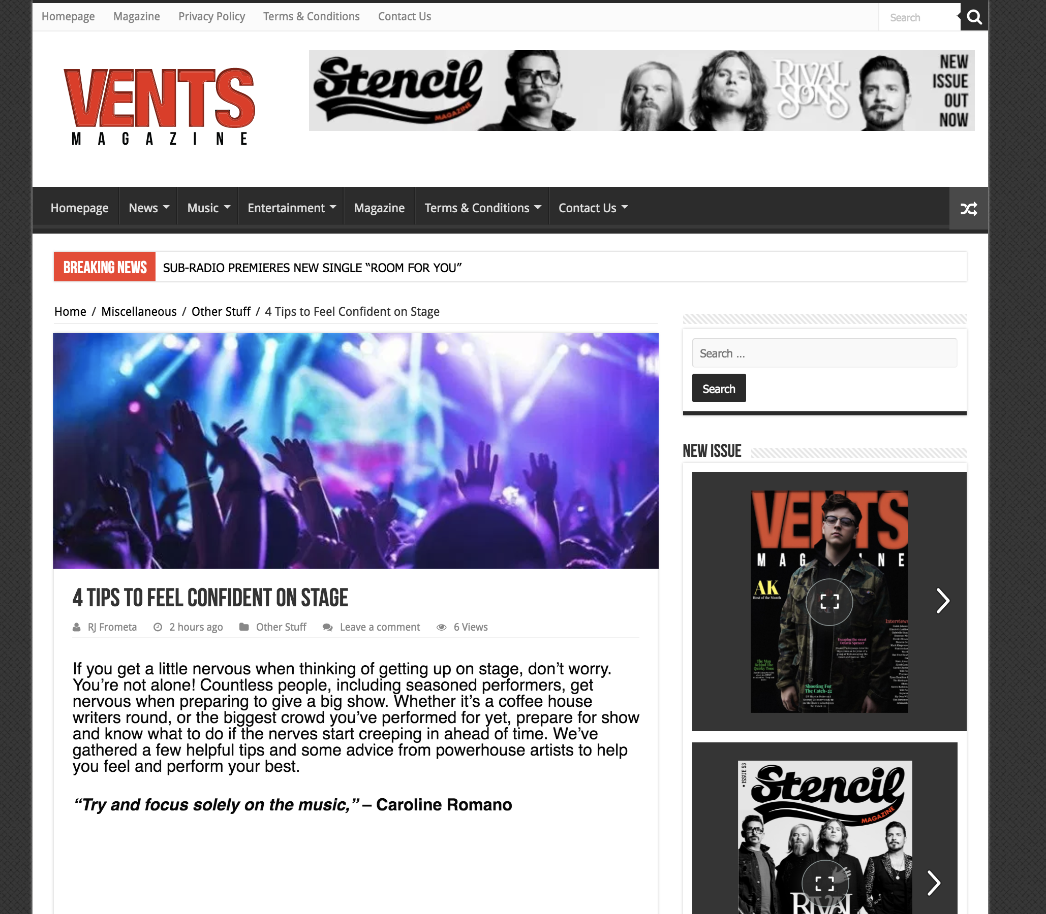 """Vents Magazine - """"4 Tips to Feel Confident on Stage"""" Feature"""