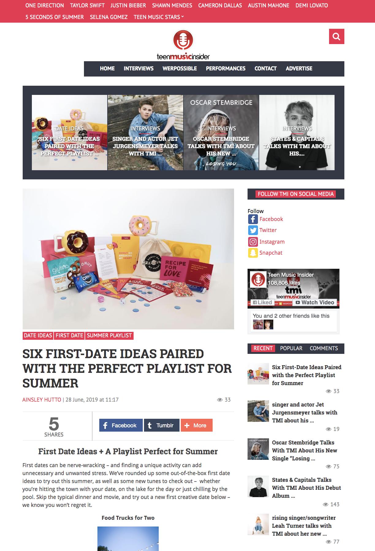 Teen Music Insider's First Date Ideas + Summer Playlist Editorial Playlist