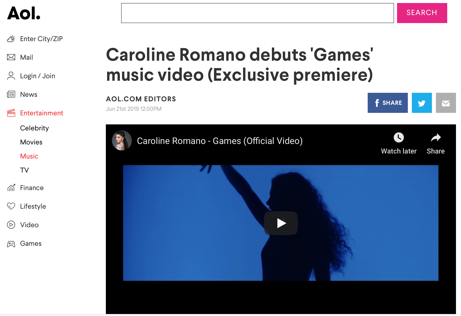 "AOL - ""Games"" Music Video Premiere"