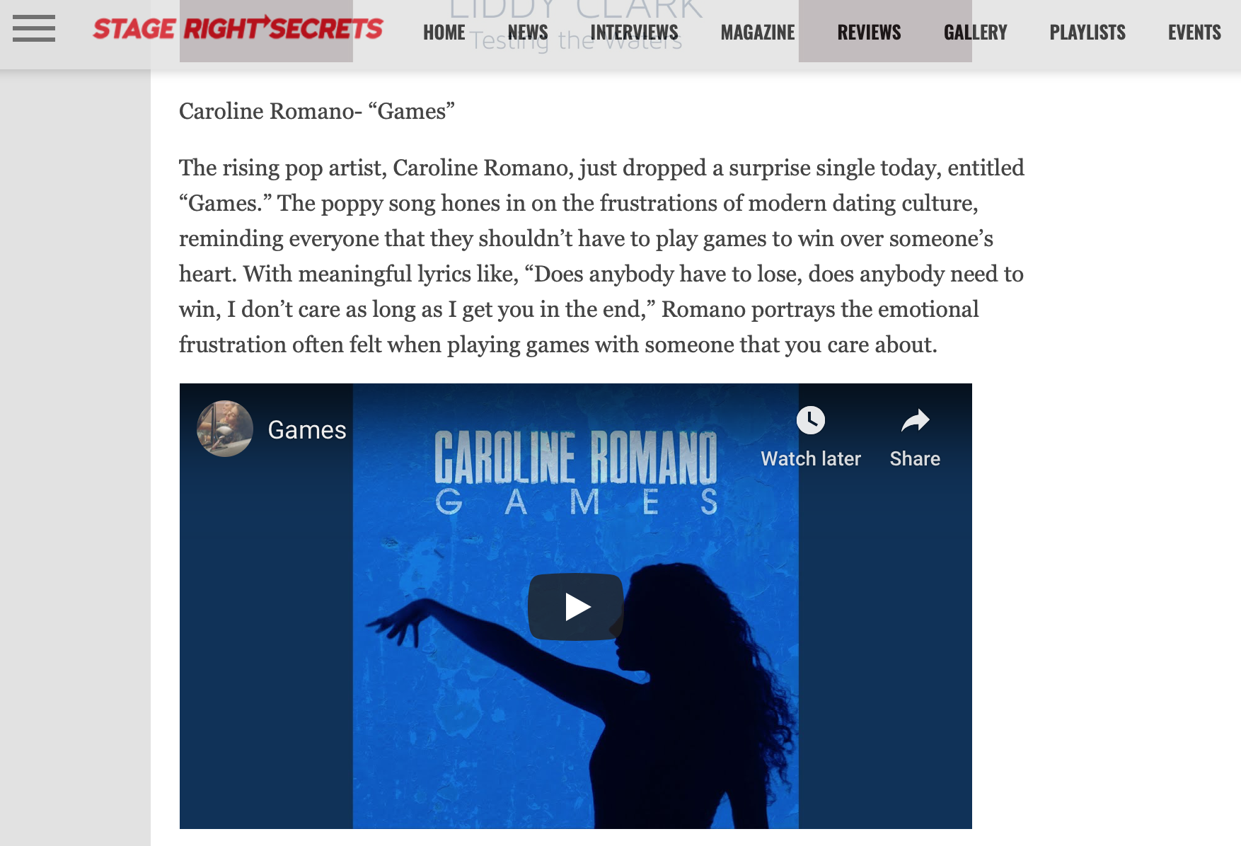 """Stage Right Secrets - """"Games"""" New Music Friday Feature"""