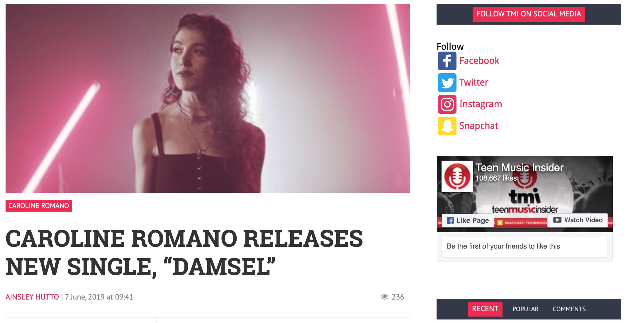 """Teen Music Insider - """"Damsel"""" Feature"""