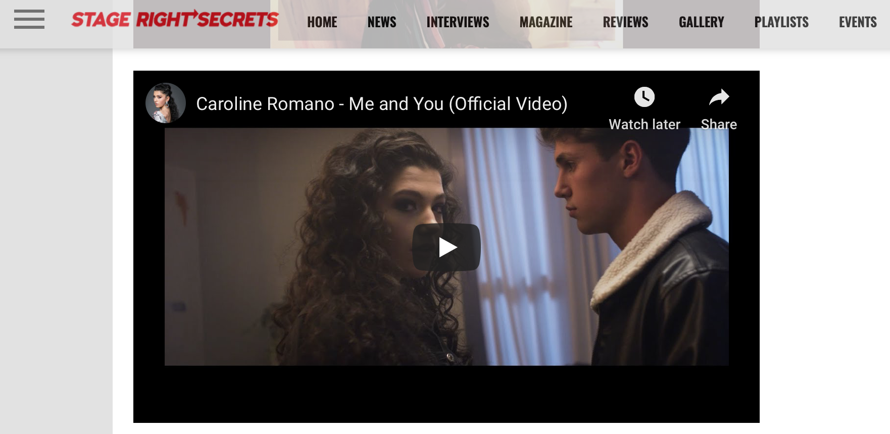 """Stage Right Secrets - """"Me and You"""" New Music Friday Feature Inclusion"""